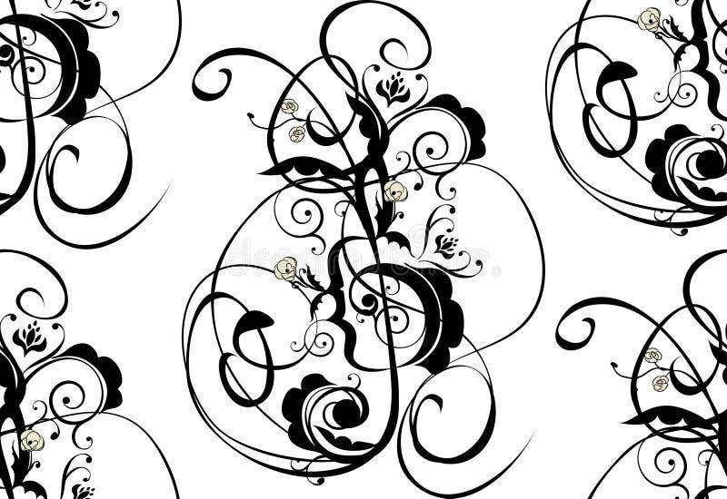 La musica nota l'ornamento floreale illustrazione di stock