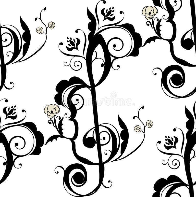 La musica nota l'ornamento floreale royalty illustrazione gratis
