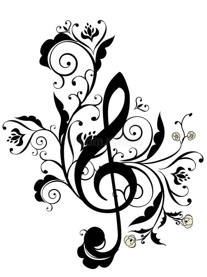 La musica nota l'ornamento floreale illustrazione vettoriale