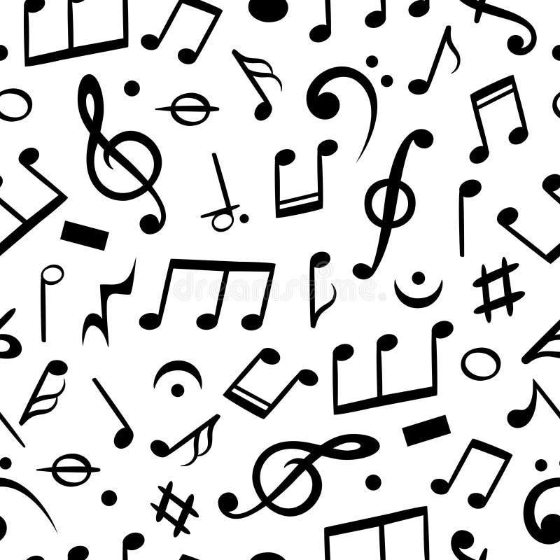 La musica nota senza giunte Carta da parati del tessuto del modello della nota musicale, arte di melodia Fondo di vettore royalty illustrazione gratis