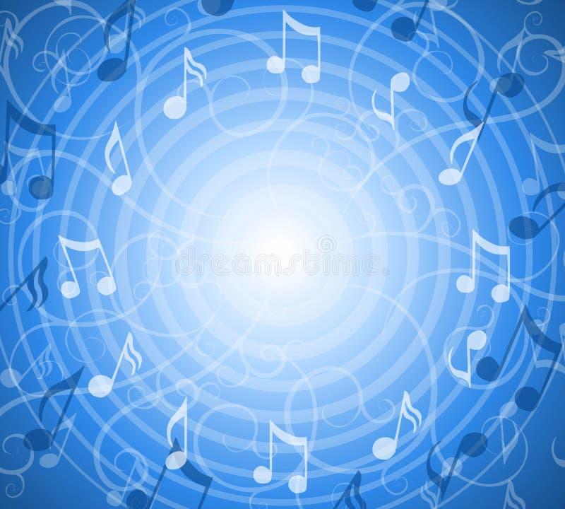 La musica radiale nota la priorità bassa blu illustrazione di stock