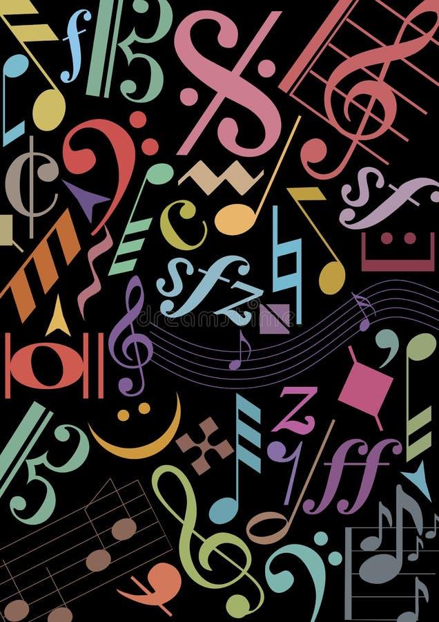 La musique colorée se connecte le noir illustration libre de droits