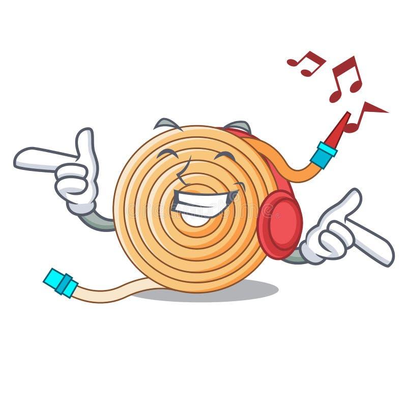 La musique de écoute arrosent le tuyau pour s'éteindre le feu illustration de vecteur