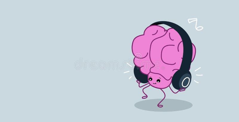 La musique de écoute d'organe mignon d'esprit humain avec des écouteurs détendent le personnage de dessin animé de rose de style  illustration stock