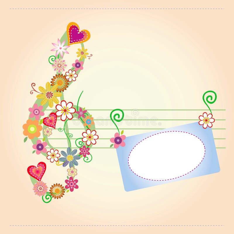 La musique de fond fleurit la carte illustration stock