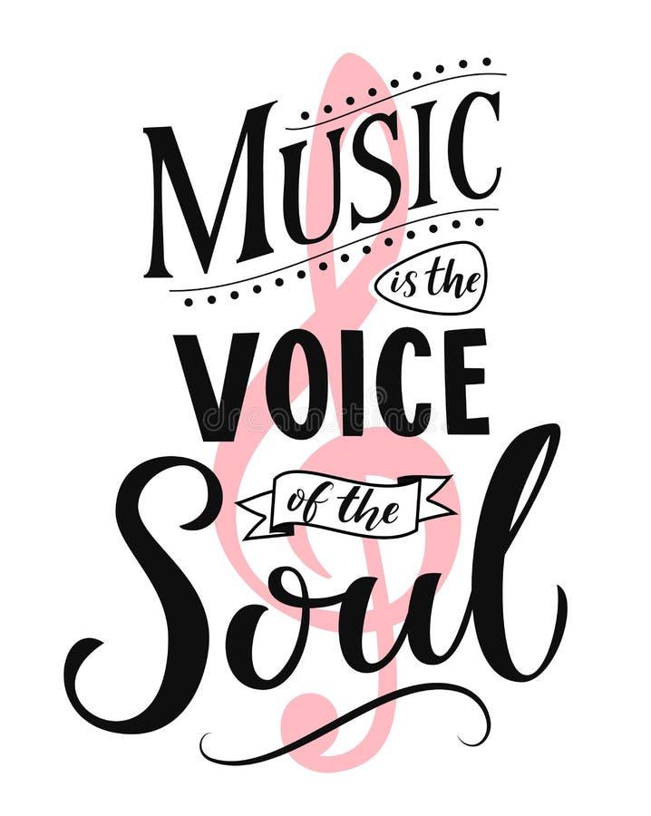 La musique est la voix de l'âme Typographie inspirée de citation, fond de blanc de sayingon de style de vintage École de danse illustration stock