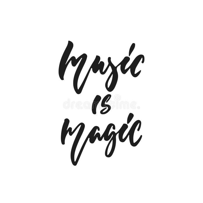 La musique est magique - citation tirée par la main de lettrage d'isolement sur le fond blanc Illustration de vecteur d'encre de  illustration libre de droits