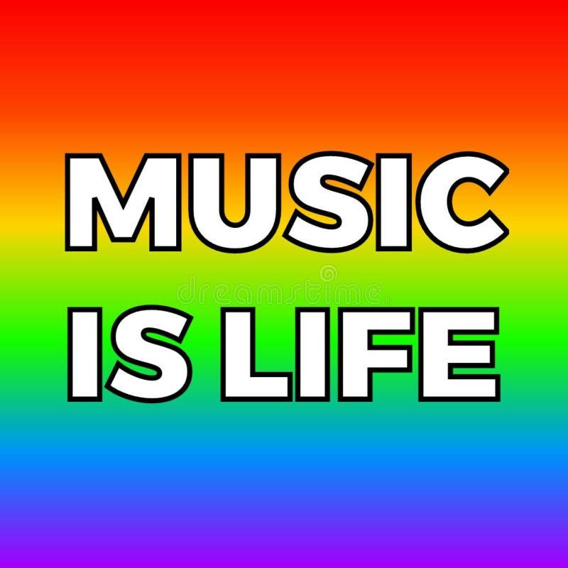 La musique est typographie de la vie pour l'affiche illustration stock