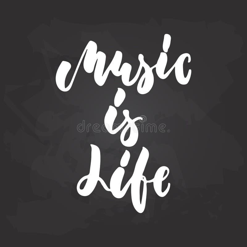 La musique est la vie - expression musicale tirée par la main de lettrage d'isolement sur le fond noir de tableau Vecteur de crai illustration stock