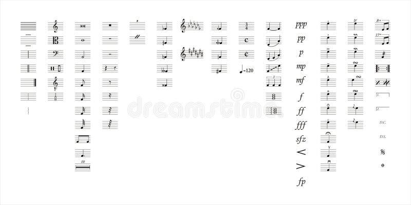 La musique note des symboles illustration libre de droits