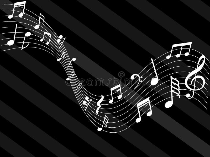La musique note l'abrégé sur noir blanc signes illustration stock