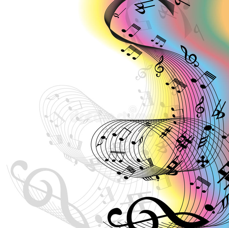 La musique note l'arc-en-ciel illustration stock
