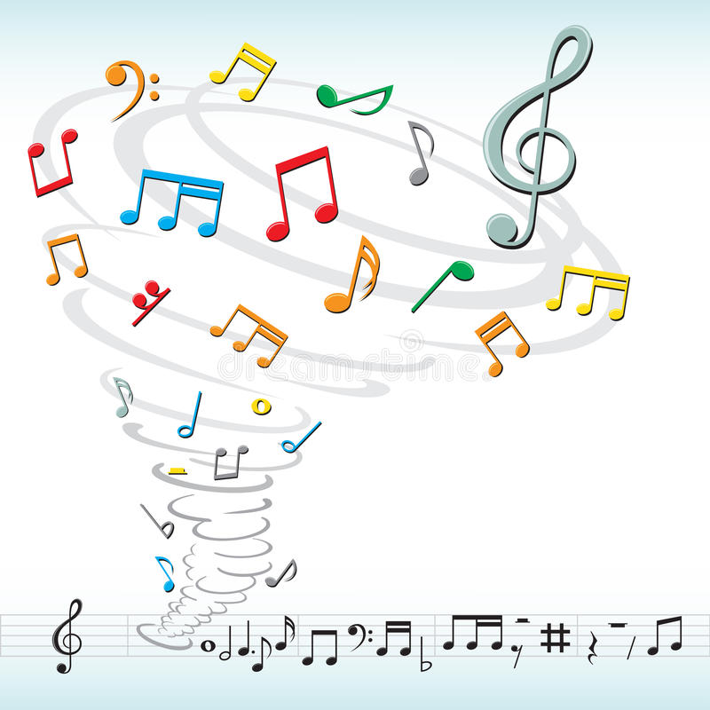 La musique note la tornade illustration stock