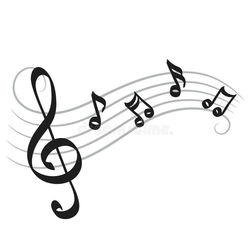 La musique note le dessin de main sur le blanc pour votre conception, vecteur courant illustration de vecteur