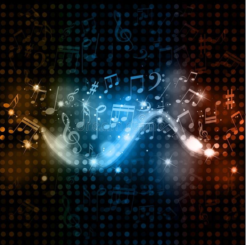 La musique note le fond de lumières de disco illustration stock
