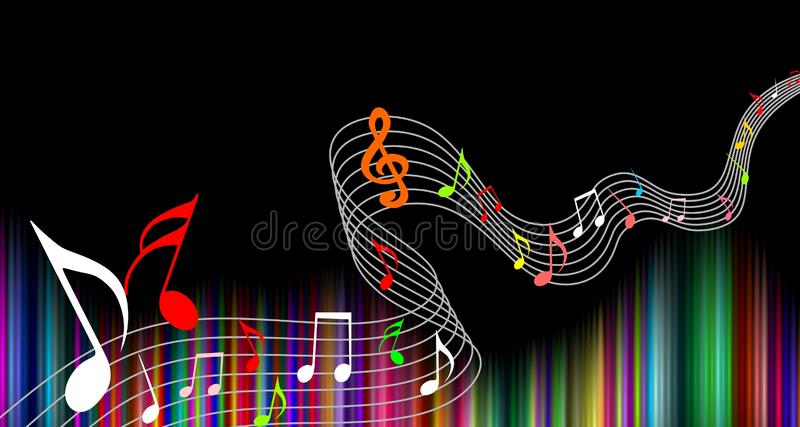 La musique note le fond multicolore Illustration de vecteur illustration stock