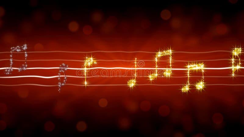 La musique note le scintillement comme des étoiles sur le fond rouge, romance de chanson d'amour passionné illustration stock