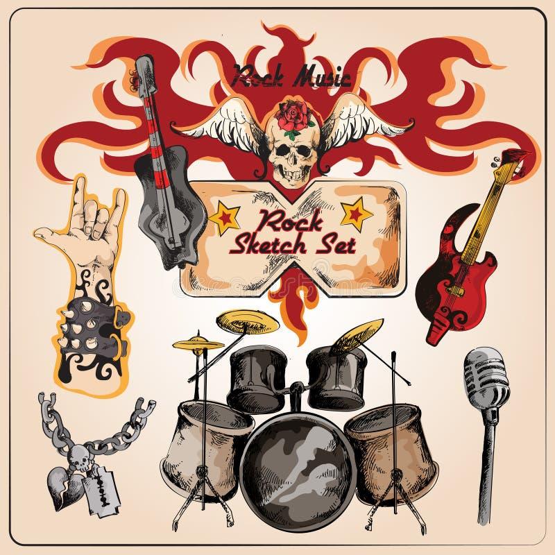 La musique rock a coloré l'ensemble de croquis illustration libre de droits