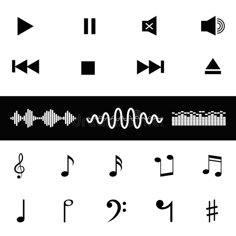 La musique saine de contrôle note l'icône d'ondes sonores image libre de droits