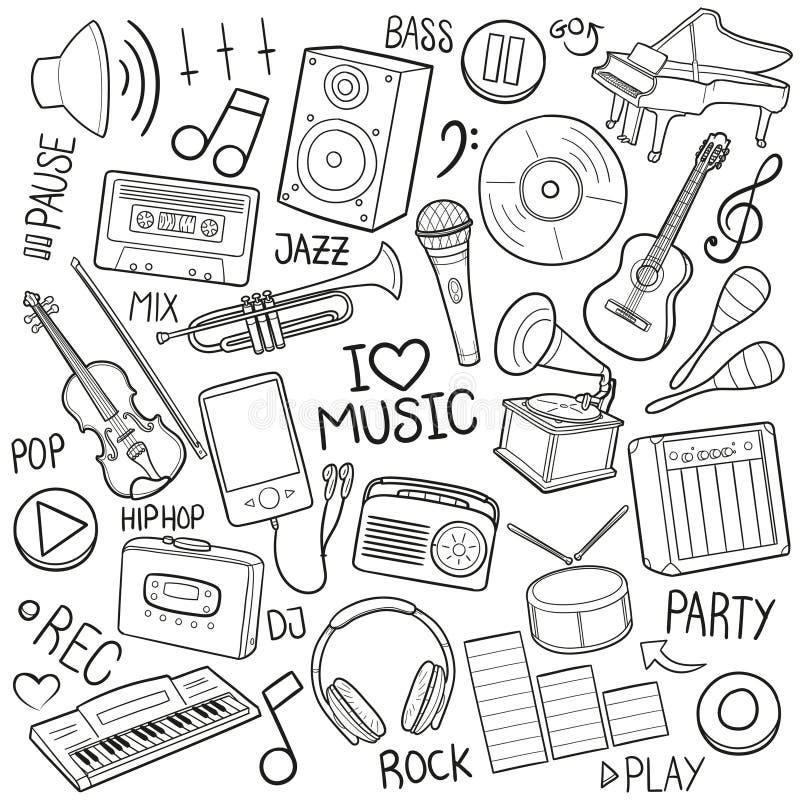 La musique usine le vecteur fabriqué à la main de conception de griffonnage d'équipement de croquis traditionnel d'icônes illustration stock