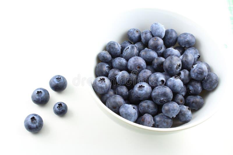 La myrtille fraîche porte des fruits dans une petite cuvette blanche images stock