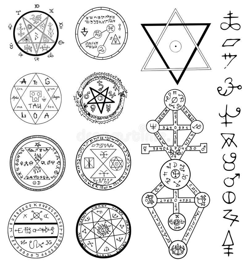 La mystique a placé avec les cercles, le pentagone étoilé et les symboles magiques illustration libre de droits