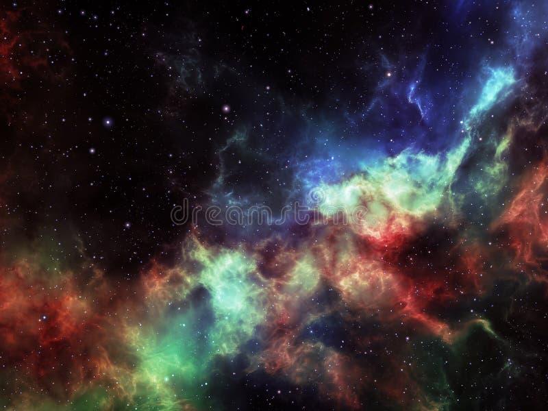 La nébuleuse colorée opacifie avec des étoiles dans l'espace lointain photos stock