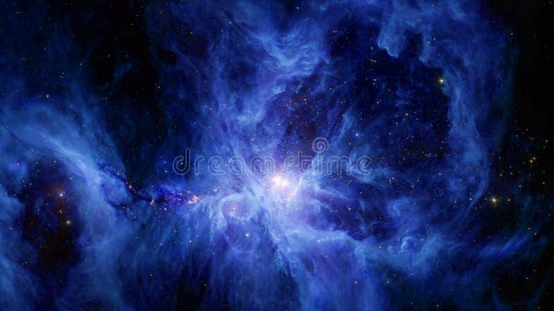 La nébuleuse de l'épée d'Orion à la lumière bleue photographie stock