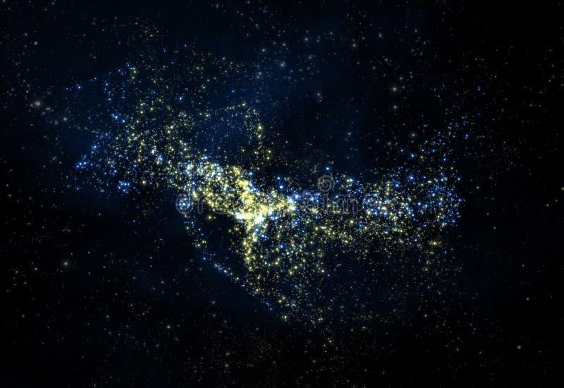 La nébuleuse profonde étoilée et la galaxie 3d d'espace extra-atmosphérique rendent illustration stock