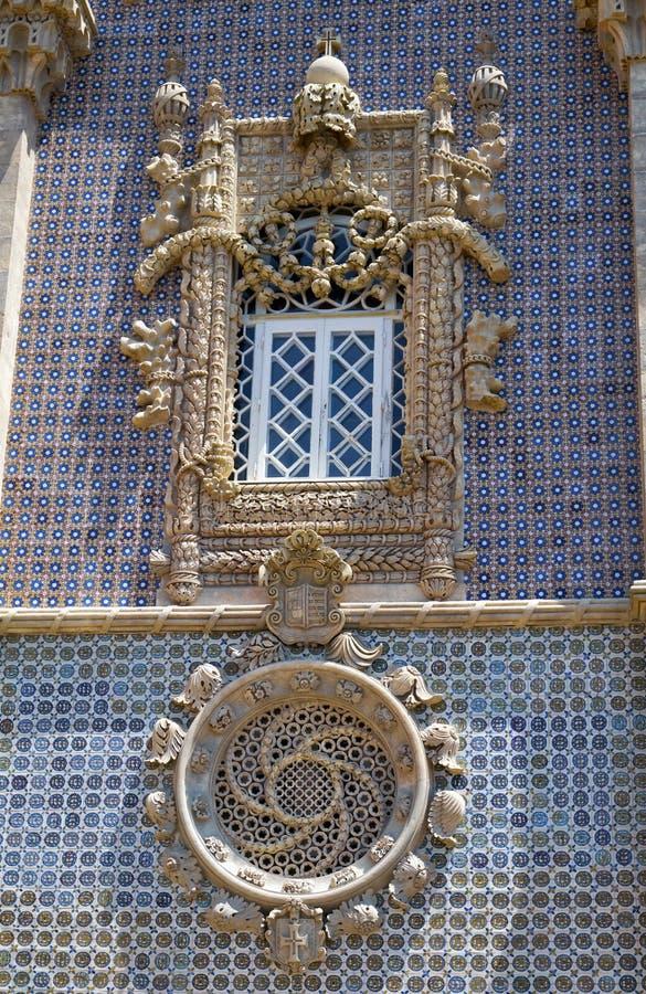 La néo--Manueline fenêtre de style du palais de Pena Sintra portugal photos libres de droits