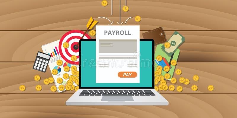 La nómina de pago emprende sueldo del dinero stock de ilustración