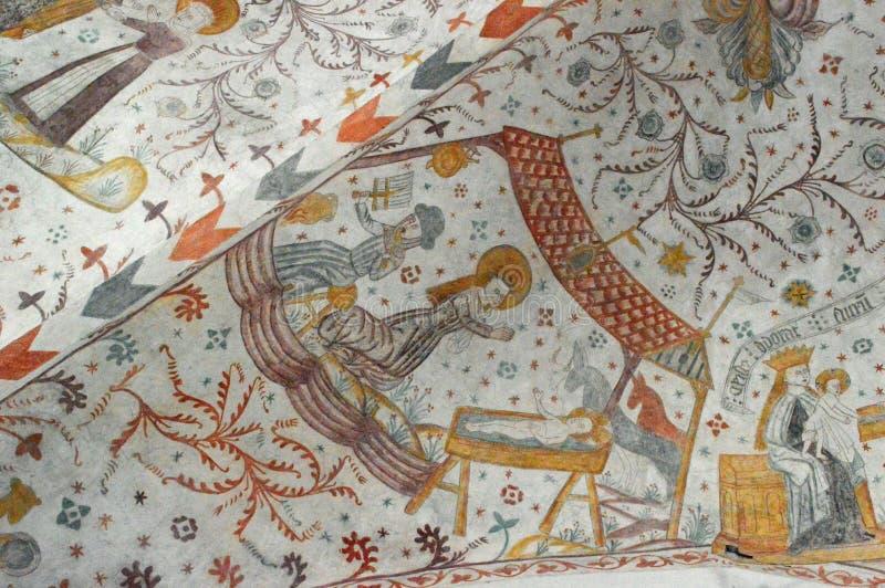 La naissance de Jésus - églises Frescoed d'église de Møn - de Keldby photos stock
