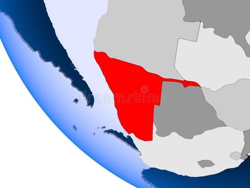 La Namibie sur le globe politique illustration stock
