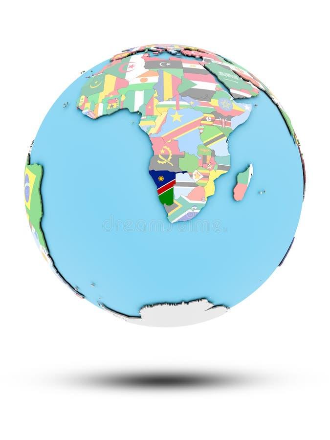 La Namibie sur le globe politique avec des drapeaux illustration stock