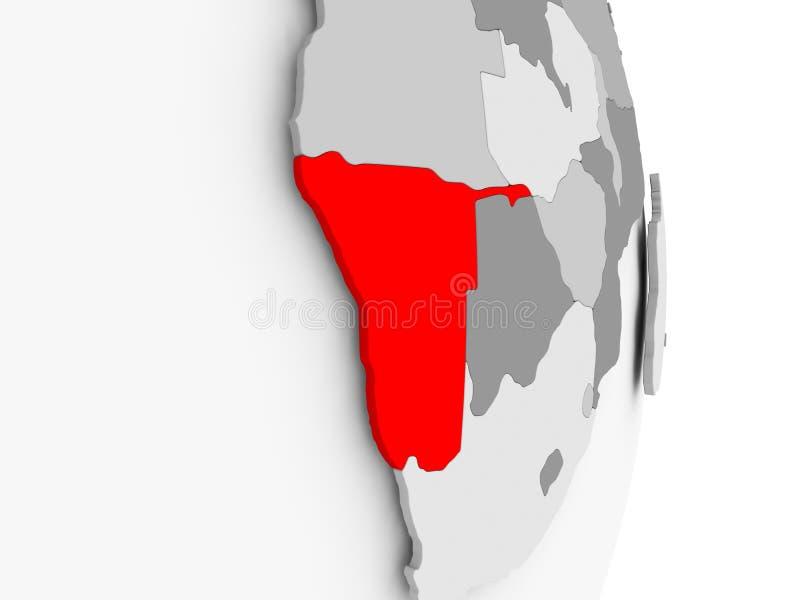 La Namibie sur le globe politique gris illustration libre de droits