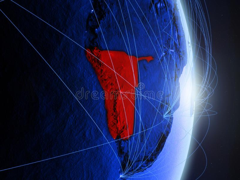 La Namibie sur la terre numérique bleue bleue photo stock