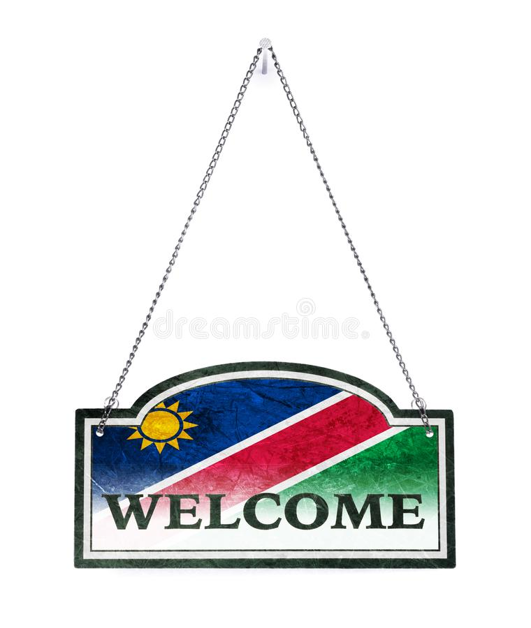 La Namibie vous accueille ! Vieux signe en métal d'isolement photo libre de droits