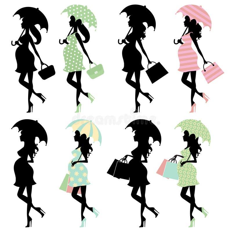La nana maman-à-est avec des parapluies illustration de vecteur