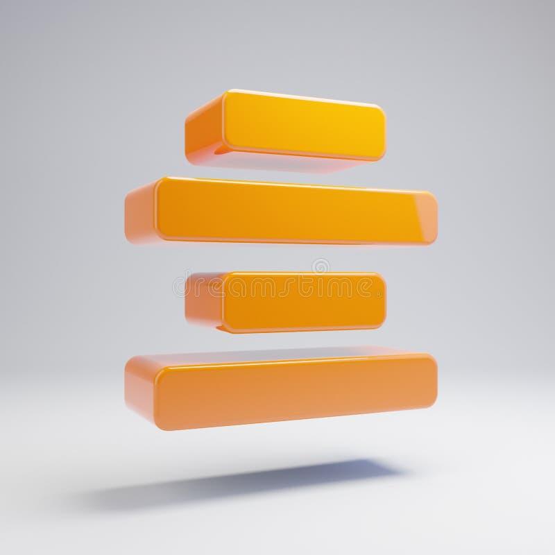 La naranja caliente brillante volumétrica alinea el icono de centro aislado en el fondo blanco libre illustration