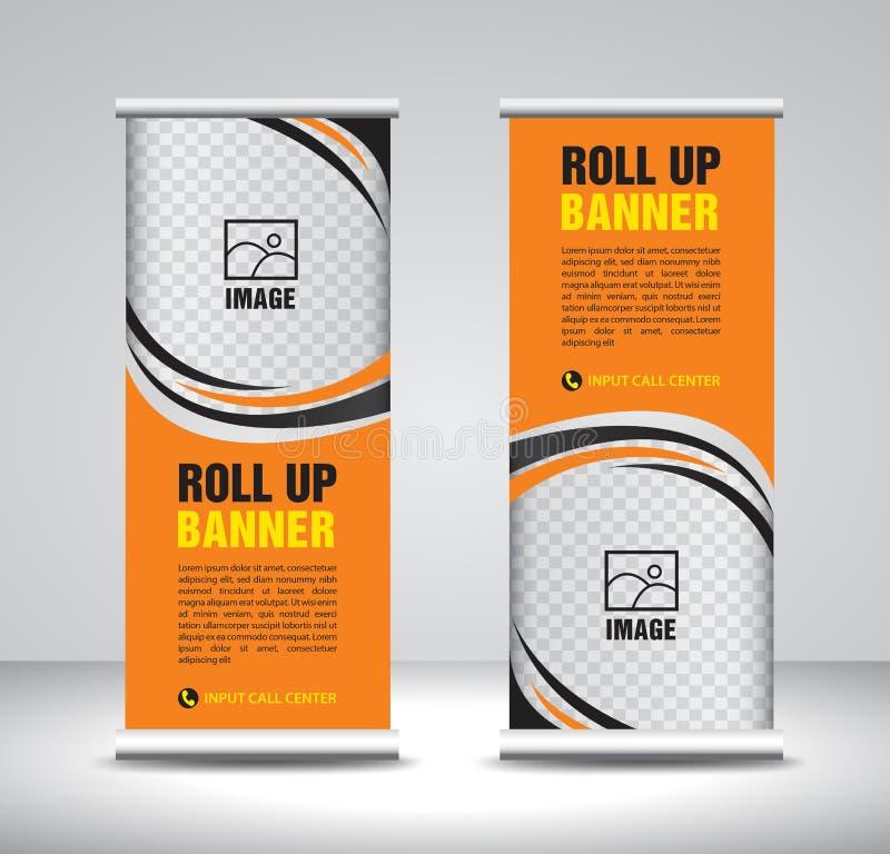 La naranja rueda encima del vector de la plantilla de la bandera, bandera, soporte, diseño de la exposición, anuncio, levanta, x- stock de ilustración