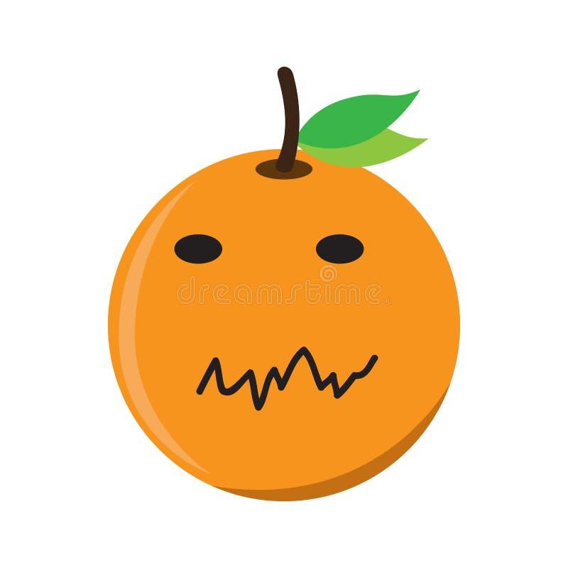 La naranja triste aislada emote ilustración del vector