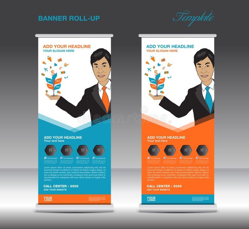 La naranja y azules ruedan para arriba la plantilla de la bandera y al hombre de negocios libre illustration
