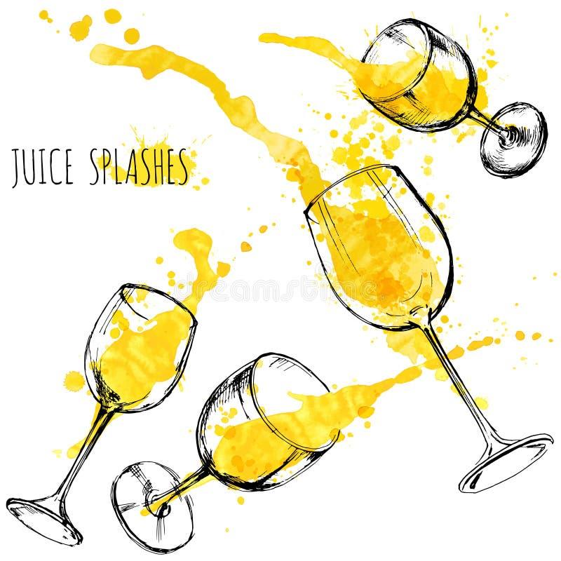 La naranja y la manzana del jugo salpica en las copas de vino, acuarela, ejemplo del vector del bosquejo stock de ilustración