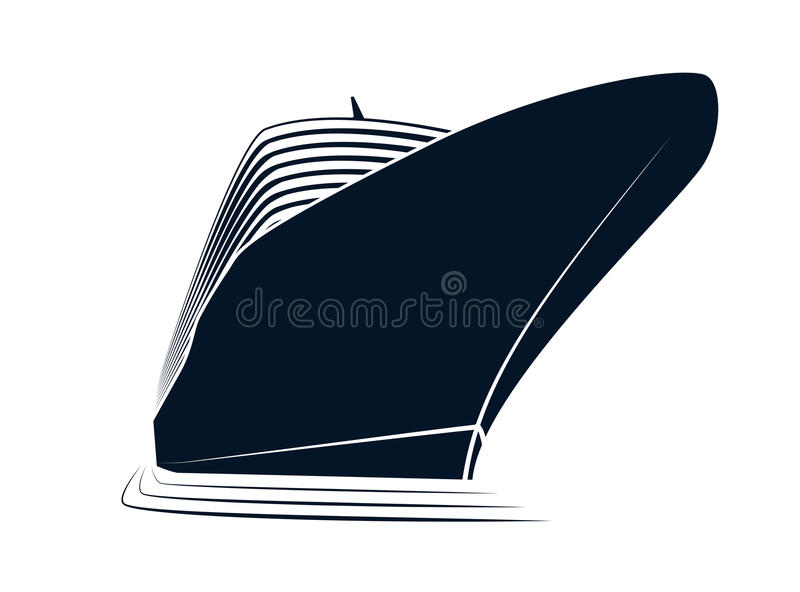 La nariz grande de un trazador de líneas de la travesía Nave simple del logotipo en el puerto deportivo Visión de abajo hacia arr ilustración del vector