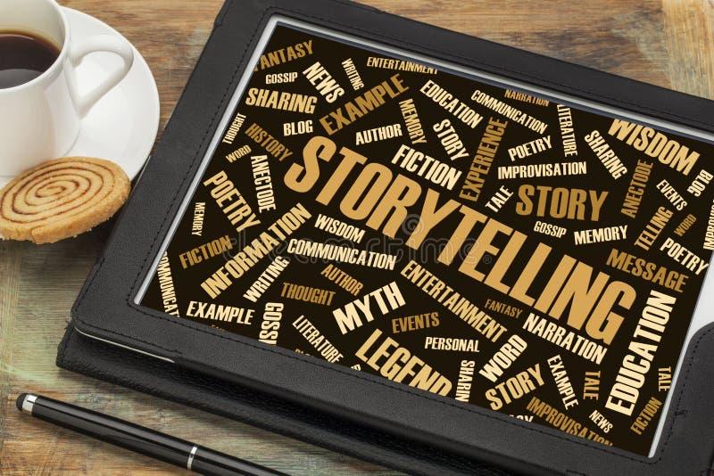 La narración y la historia redactan la nube en la tableta digital imagenes de archivo