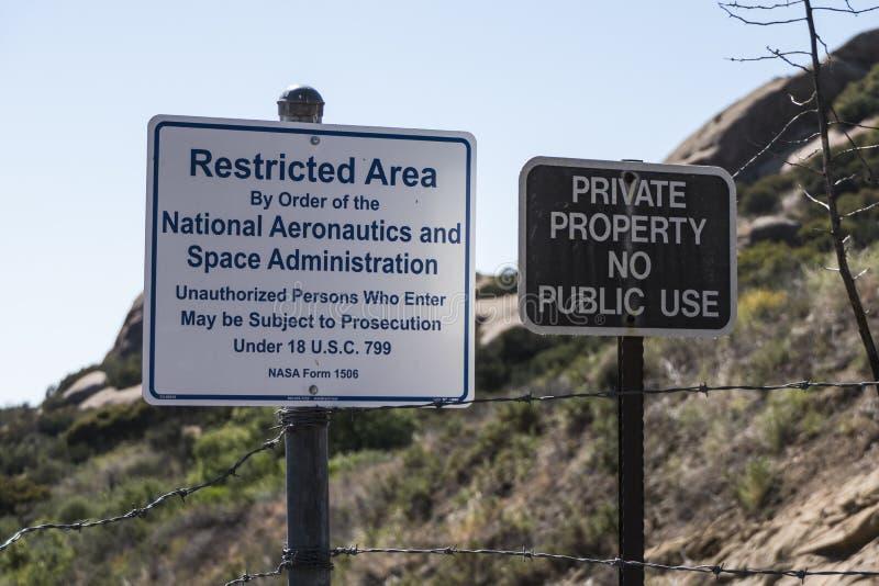 La NASA impedisce di entrare il segno a Santa Susana Field Laboratory immagini stock libere da diritti