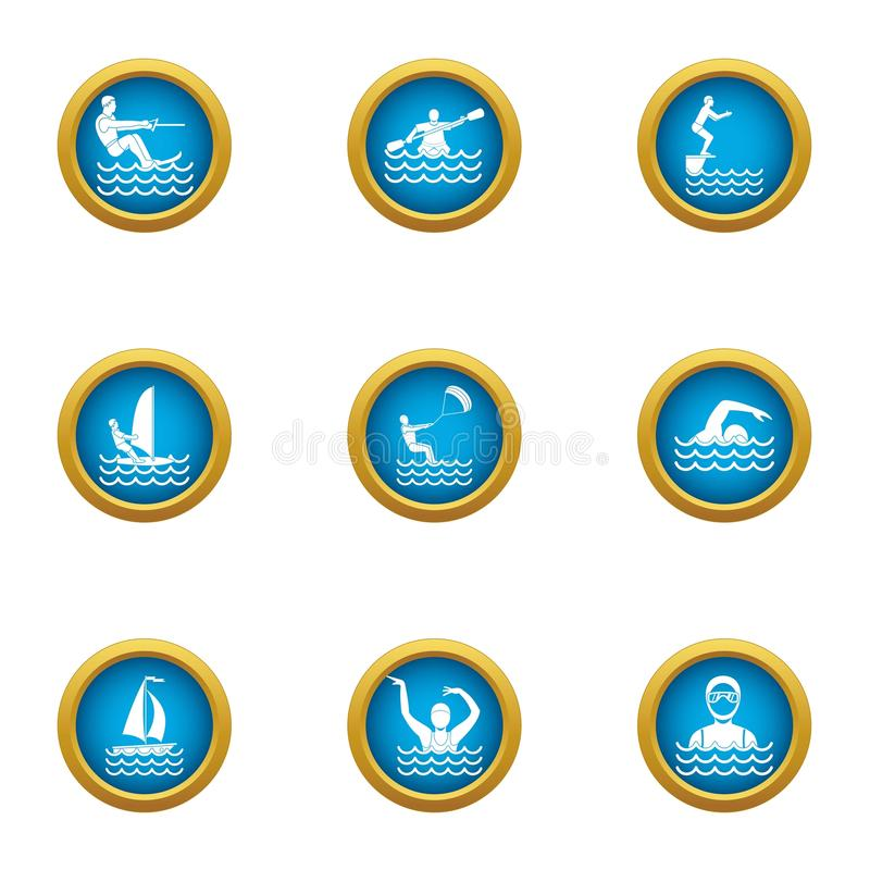 La natation dans des icônes de l'eau a placé, style plat illustration stock