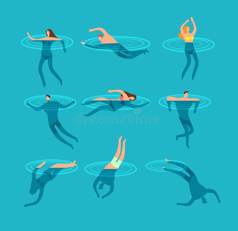 La natation et les personnes de plongée dans la bande dessinée de piscine dirigent l'illustration illustration libre de droits