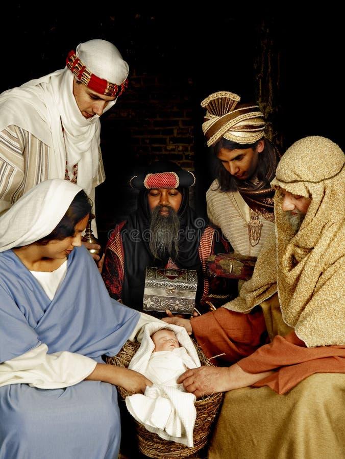 La natividad con wisemen foto de archivo