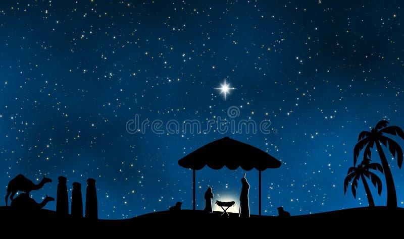 La natividad de Jesús en fondo santo del diseño de la noche ilustración del vector
